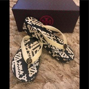 Tory Burch wedge flip flops.  Navy/ivory, Size 5